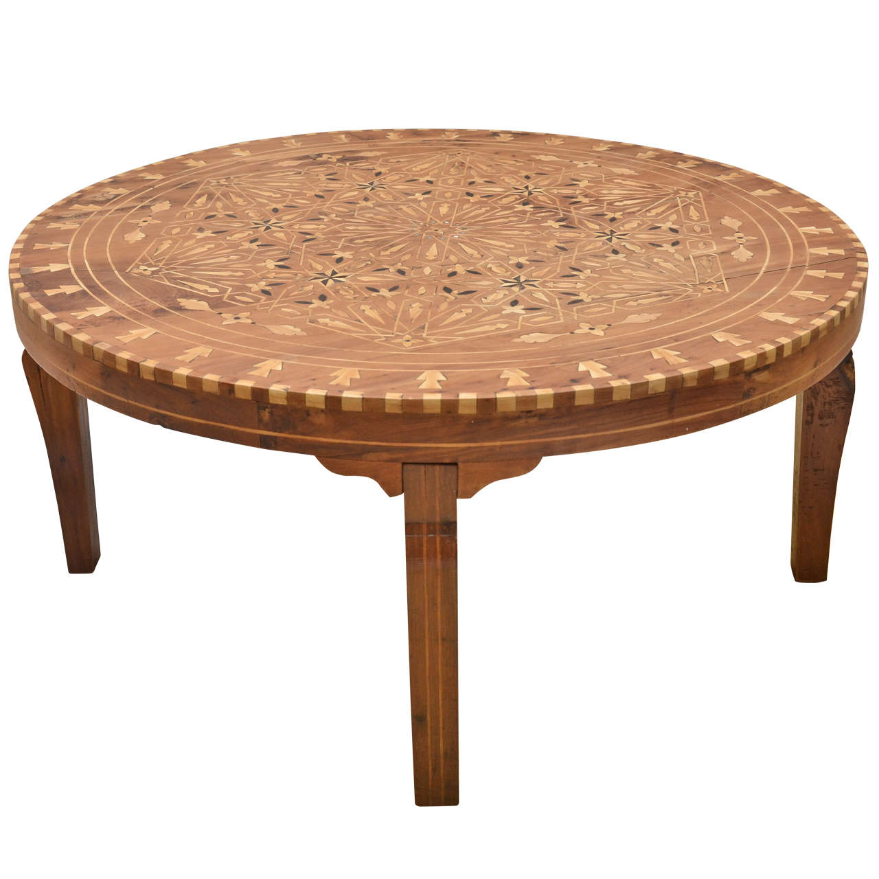 Circular Inlaid Cedar Indian Coffee Table At 1stdibs