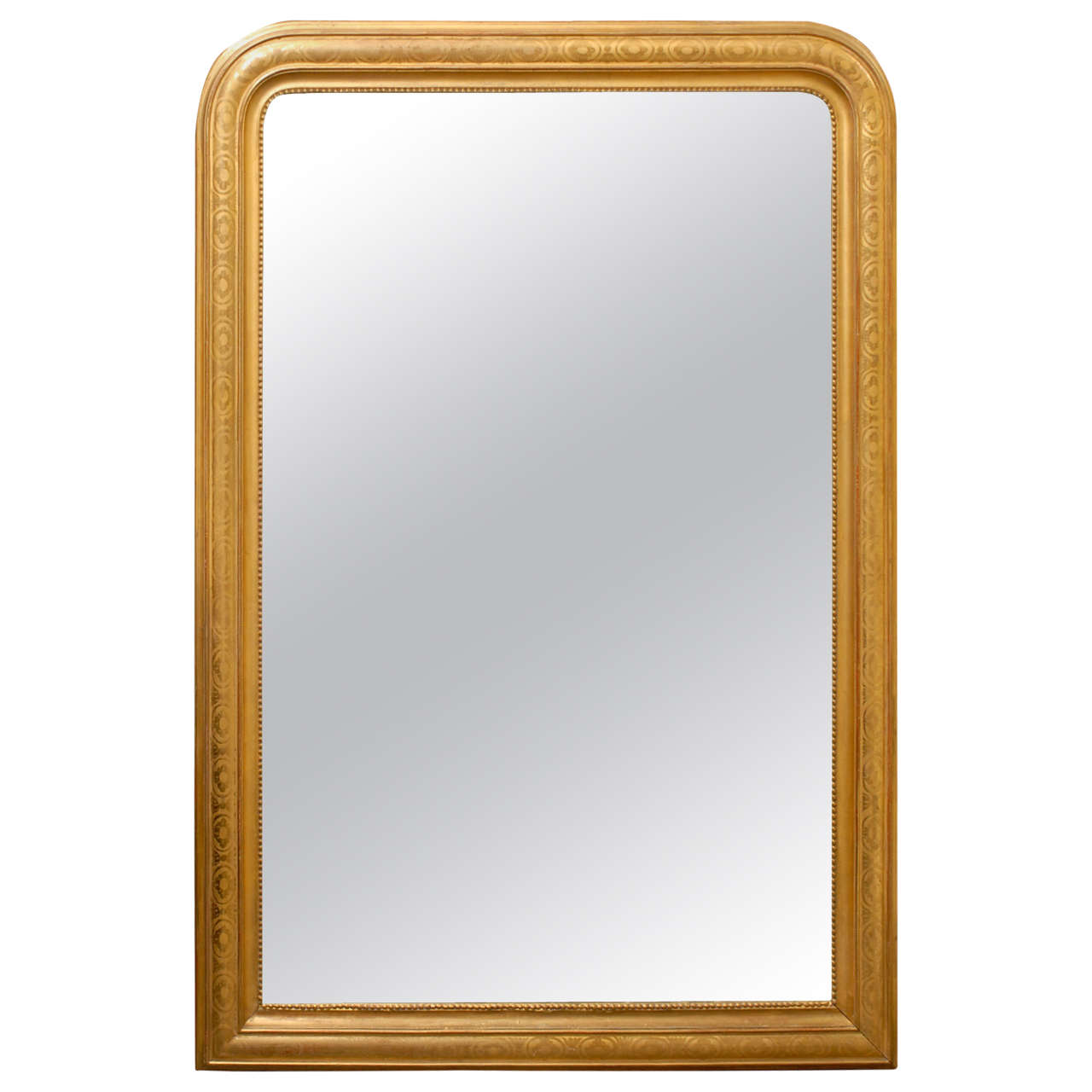 Large french gilt wood louis philippe style mirror at 1stdibs for What is a gilt mirror