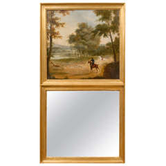 French 19th Century Trumeau Mirror with Hunting Scene and Giltwood Frame