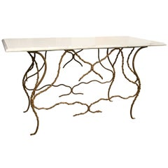Marble Top Console Table With Naturalistic Gilt Iron Base
