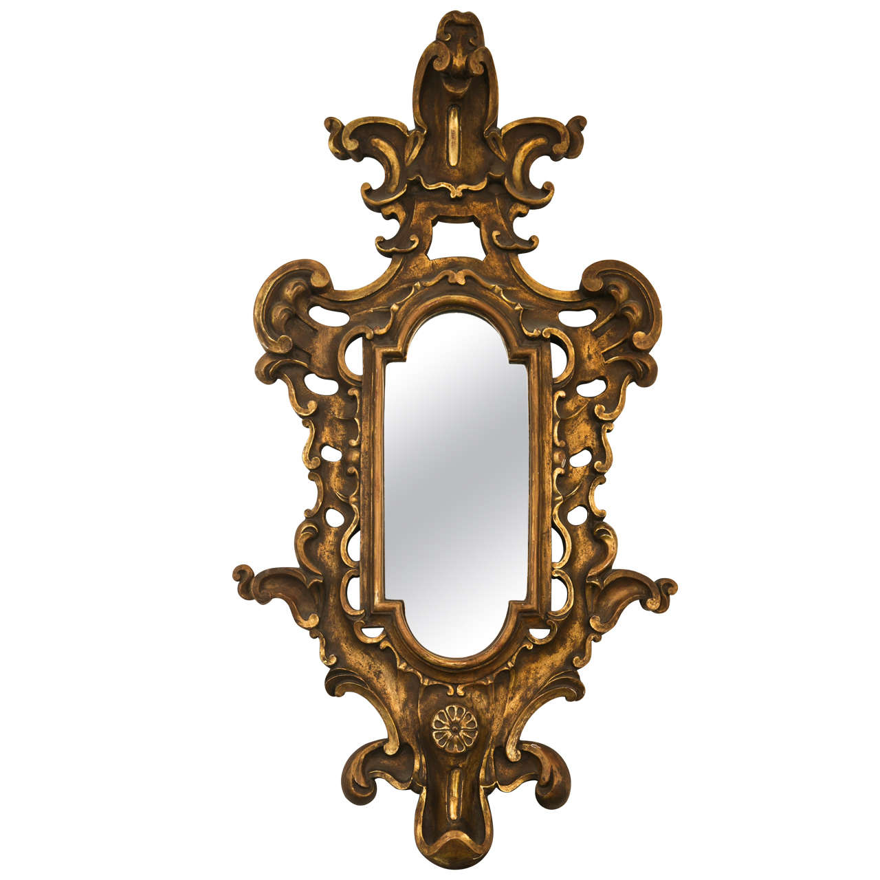 Gilt Carved Wood Baroque Mirror At 1stdibs
