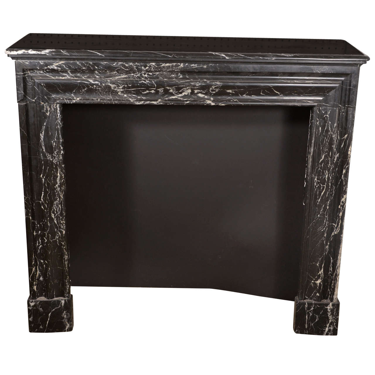 Black Veined Fireplace Marble Mantel at 1stdibs