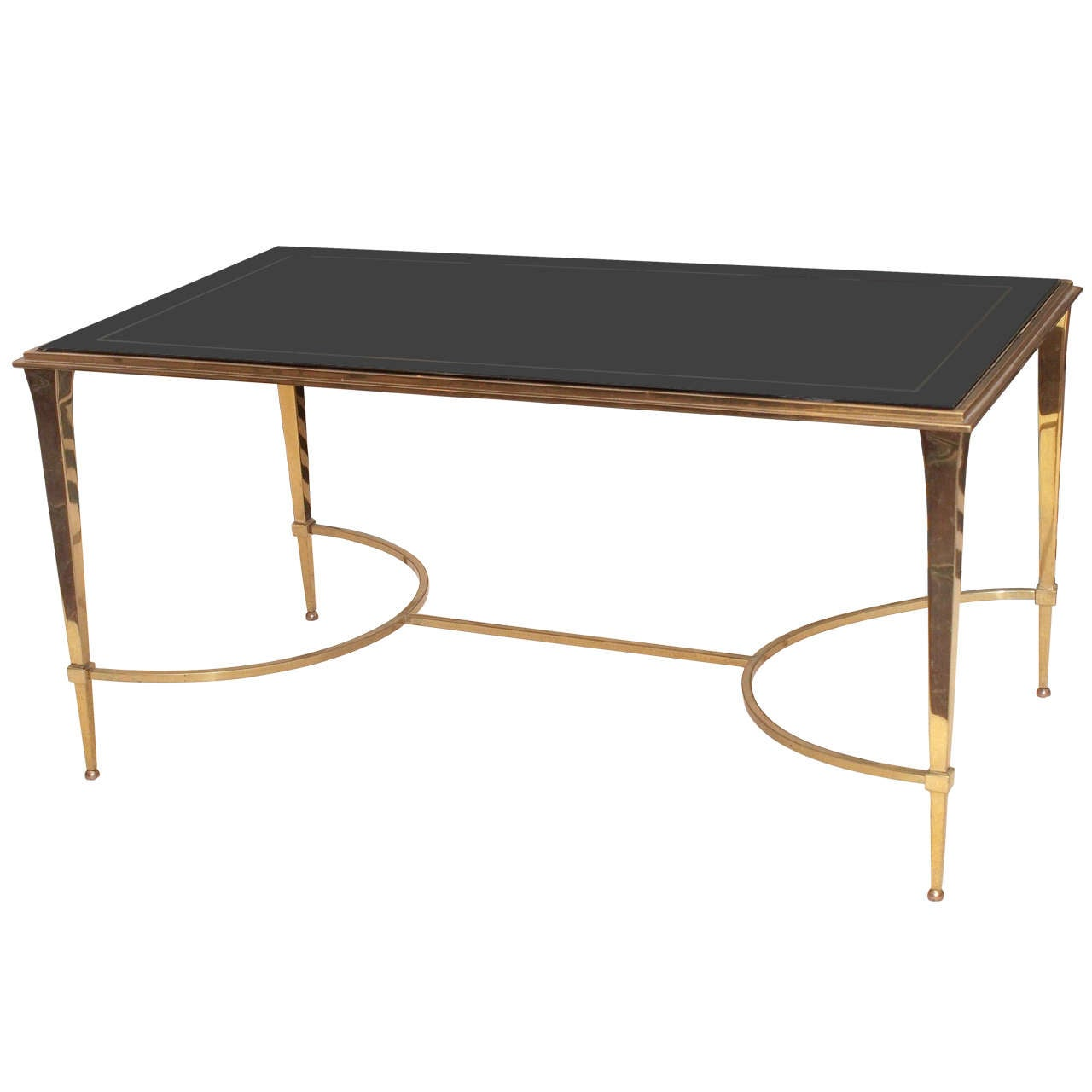 Stylish Bronze Cocktail Table With Slate Glass Plateau At 1stdibs