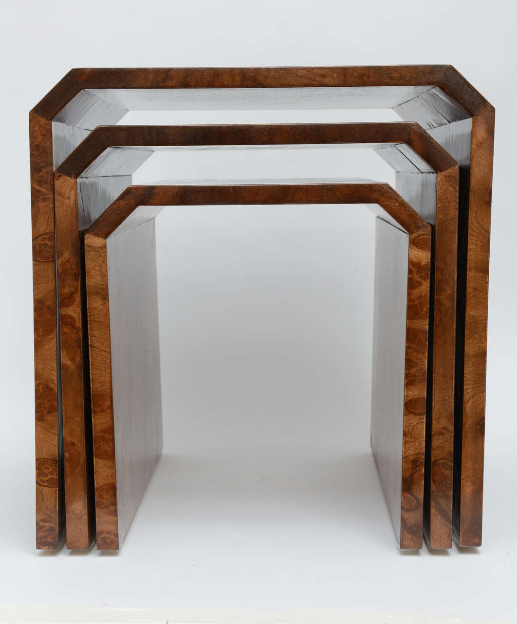Tommaso Barbi Burl Wood Nesting Tables Image 9. Full resolution  portraiture, nominally Width 1062 Height 1280 pixels, portraiture with #6E3C1C.