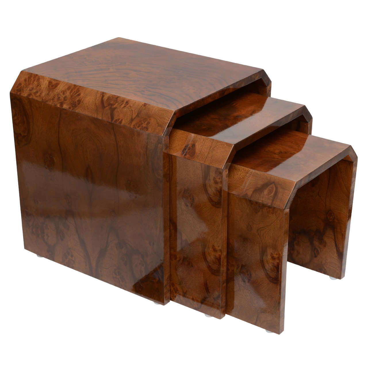 Tommaso Barbi Burl Wood Nesting Tables At 1stdibs. Full resolution  portraiture, nominally Width 1280 Height 1280 pixels, portraiture with #44200D.