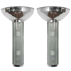 Pair of Glass and Chrome Sconces