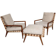 Pair of 20th C. Armchairs and Ottoman by TH Robsjohn-Gibbings