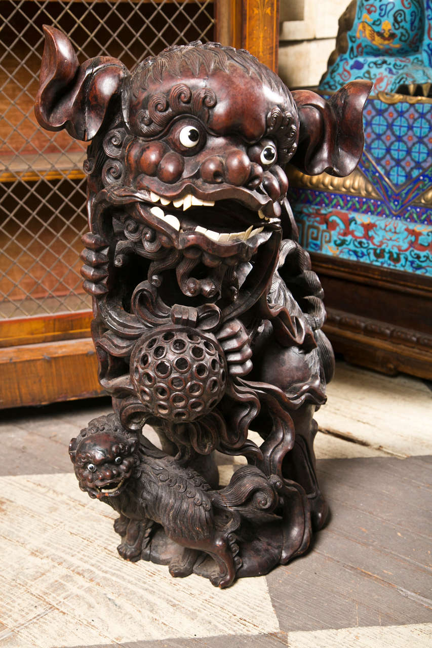 Pair 19th century  Carved Wood Chinese FooDogs 2