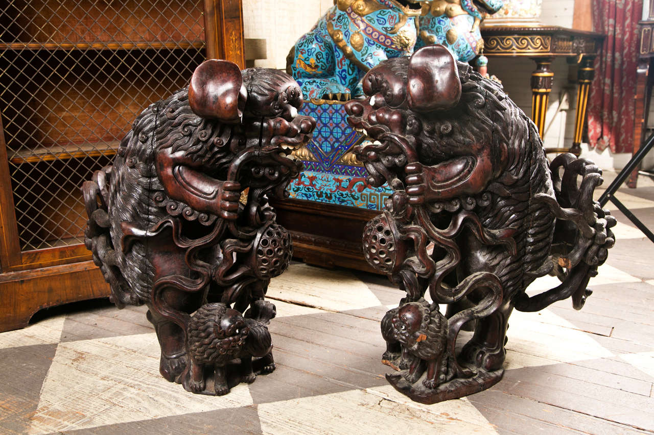 Pair 19th century  Carved Wood Chinese FooDogs 5
