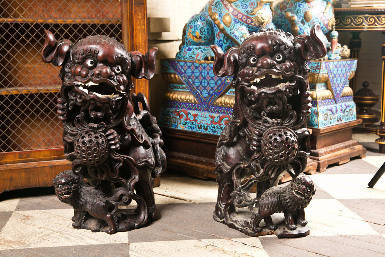 Pair 19th century  Carved Wood Chinese FooDogs 10