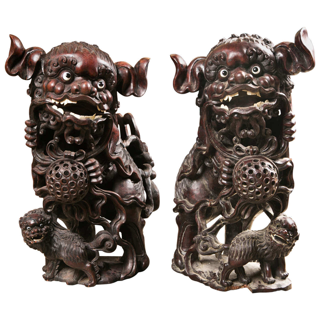 Pair 19th century  Carved Wood Chinese FooDogs 1