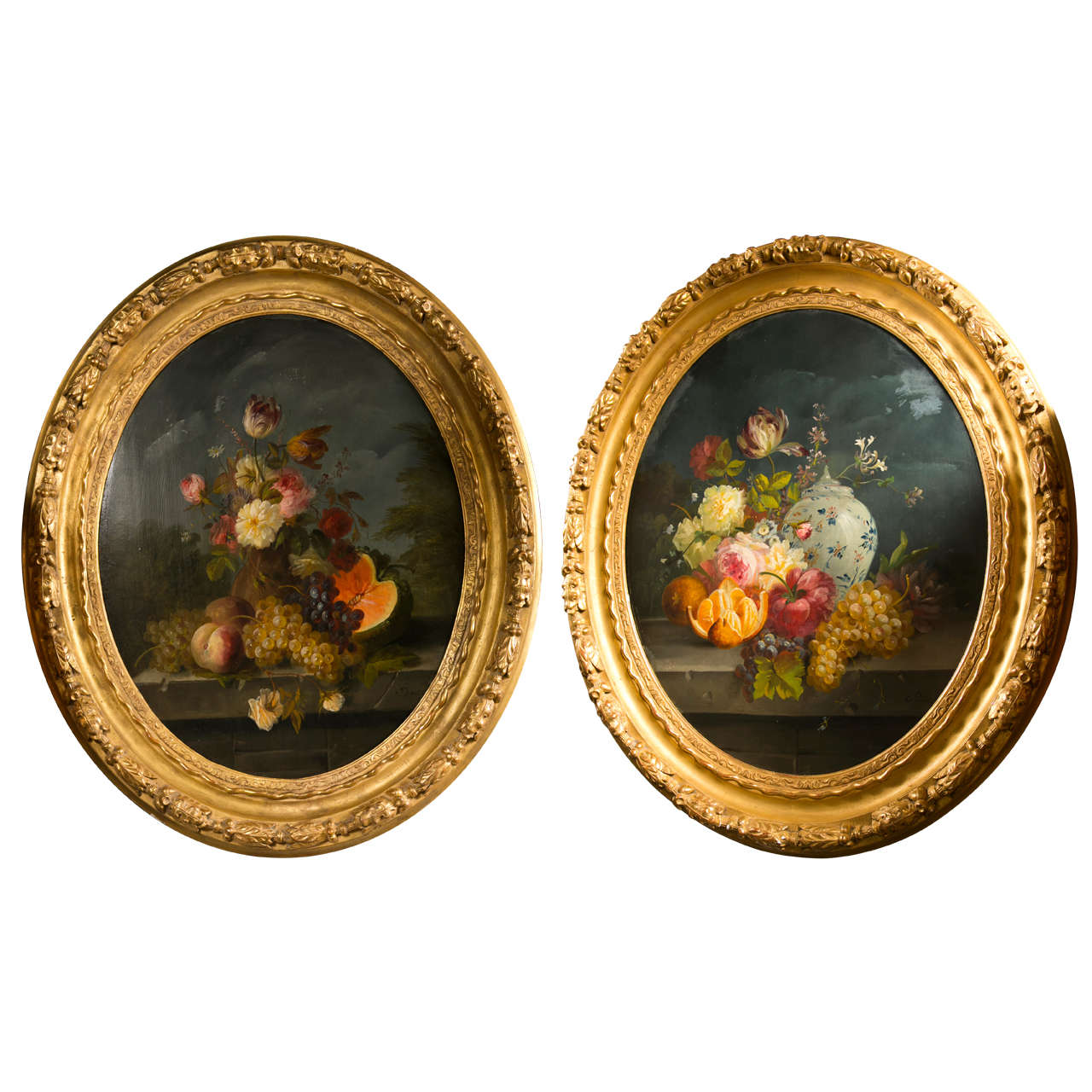 Pair of Oval Still Life Paintings