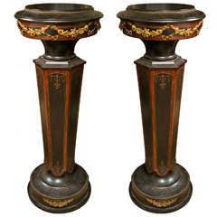 Pair Victorian Wooden Pedestals