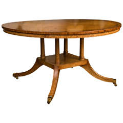 "Custom, English, Pollard Oak 60"" Diameter Dining Table"