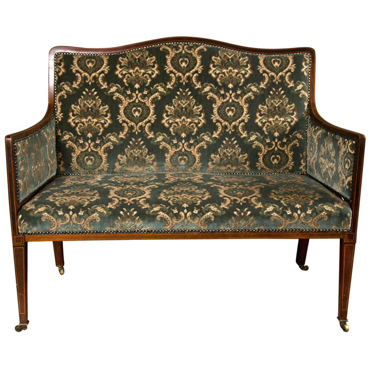 Edwardian inlaid mahogany settee for sale at 1stdibs for Settees for sale