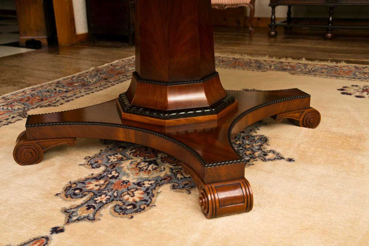 Inlay Custom, Regency Style Circular Mahogany Dining Table For Sale