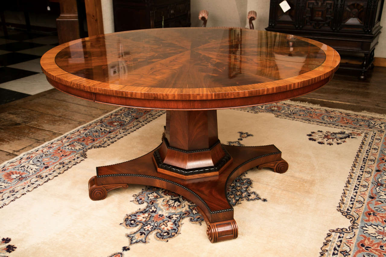 Custom, Regency Style Circular Mahogany Dining Table For Sale 1