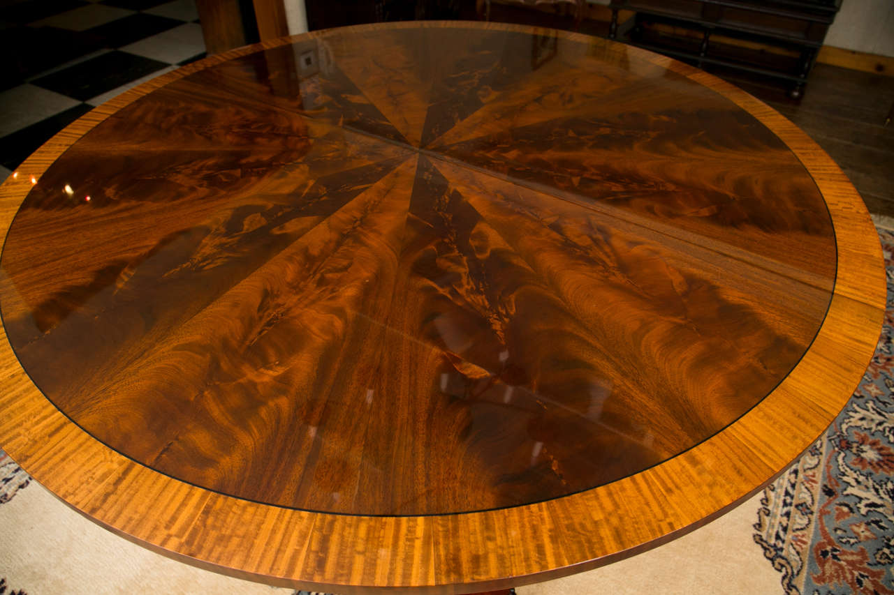 Custom, Regency Style Circular Mahogany Dining Table For Sale 2