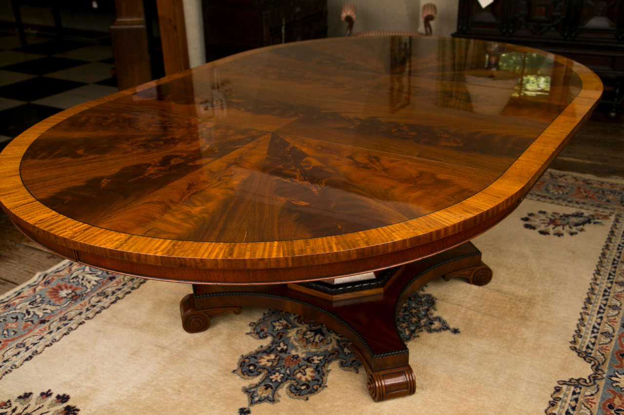 Custom, Regency Style Circular Mahogany Dining Table For Sale 3