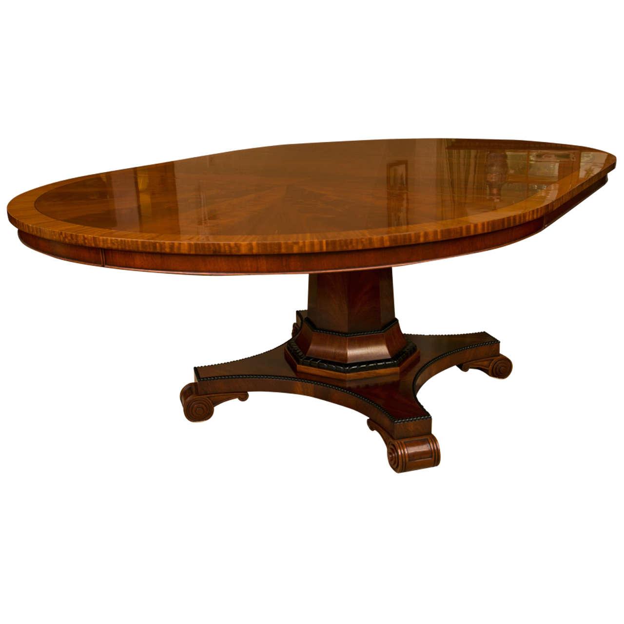 Custom regency style circular mahogany dining table for for Mahogany dining table