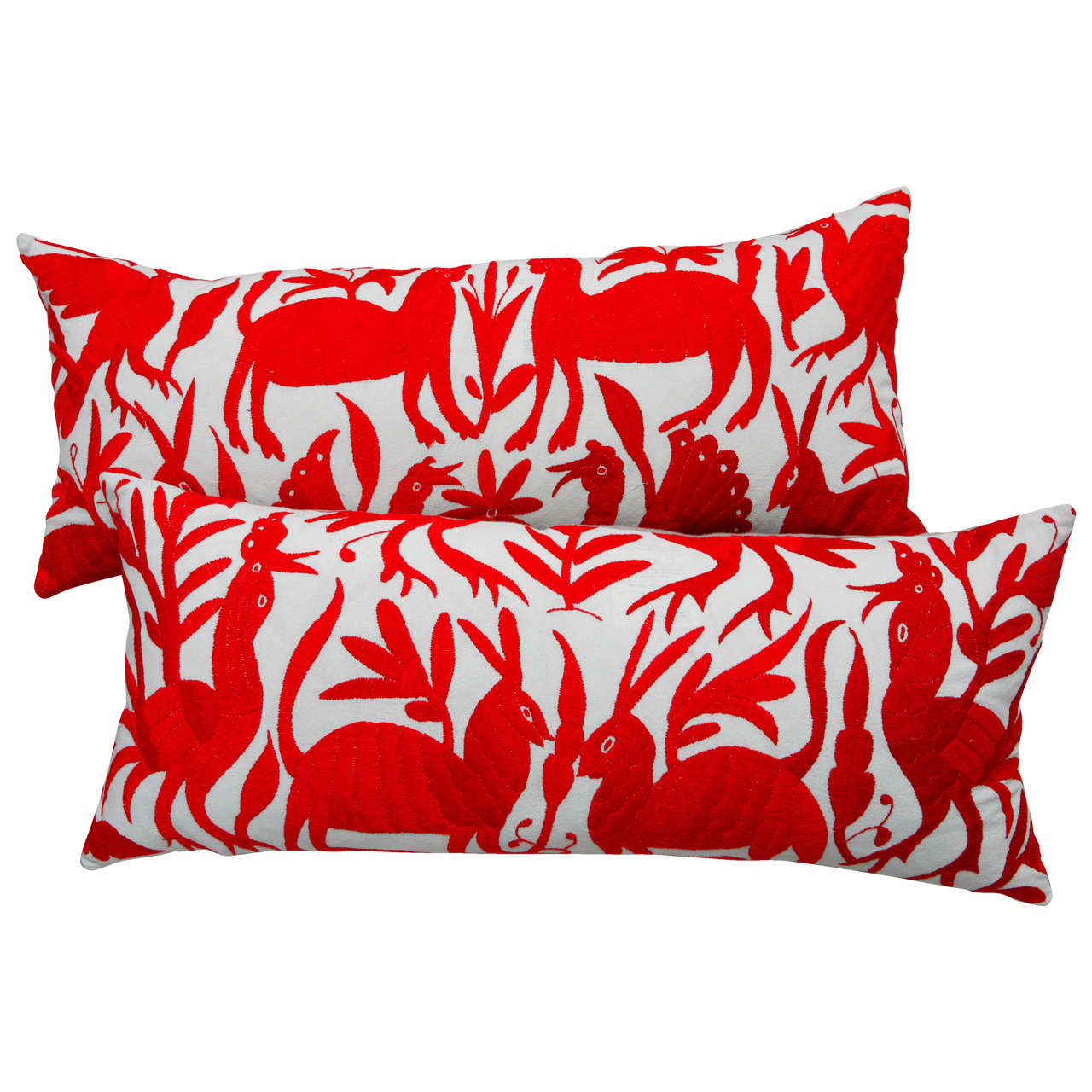 Mexican embroidered quot otomi pillows at stdibs