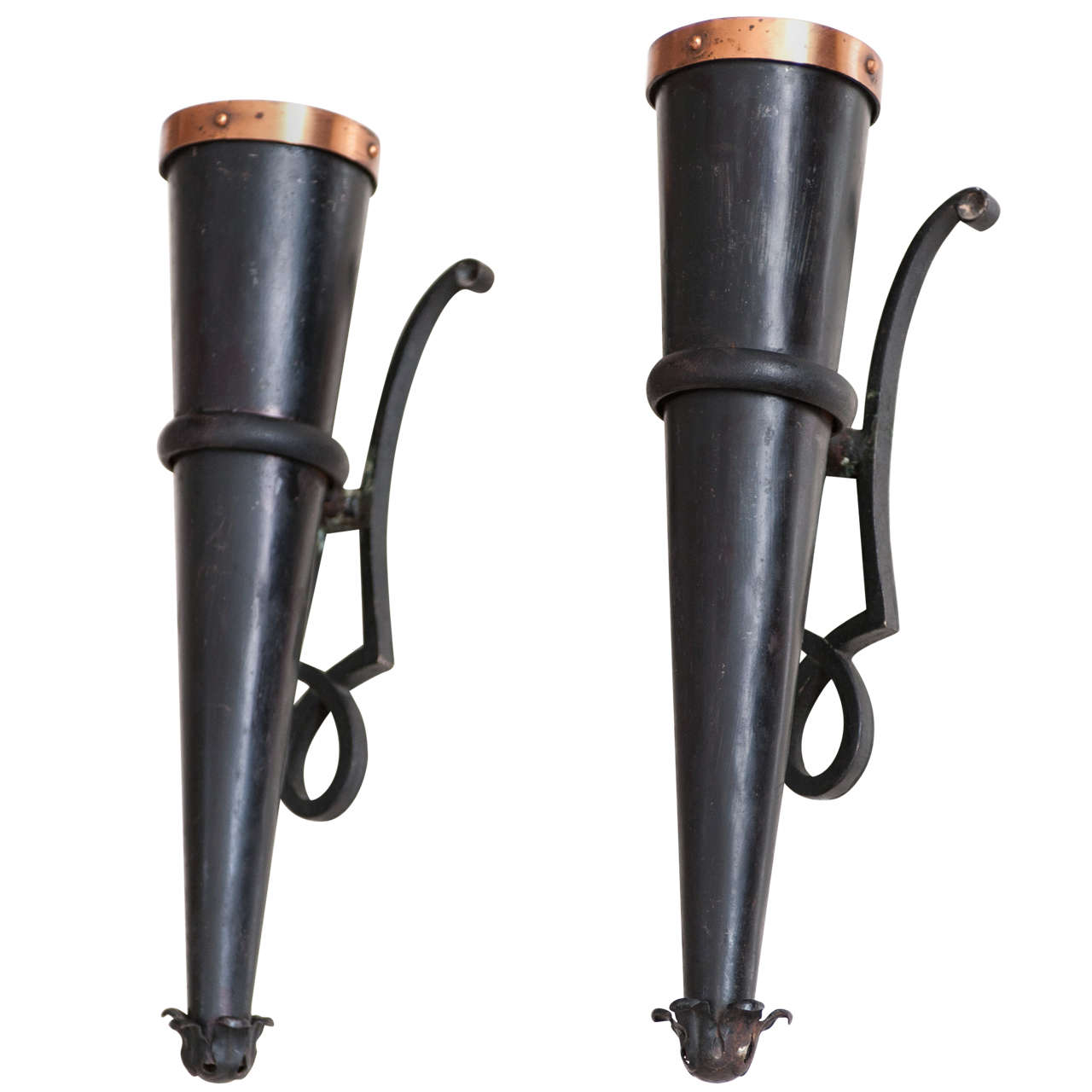 Gilbert Poillerat(1902-1988) pair of wrought iron wall sconces at 1stdibs