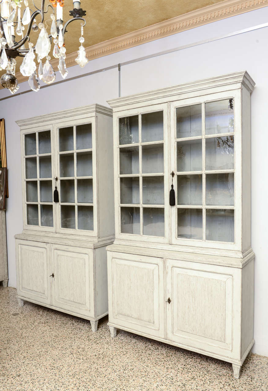 Pair of Large Antique Swedish Gustavian Library Cabinets In Excellent  Condition For Sale In West Palm - Pair Of Large Antique Swedish Gustavian Library Cabinets At 1stdibs
