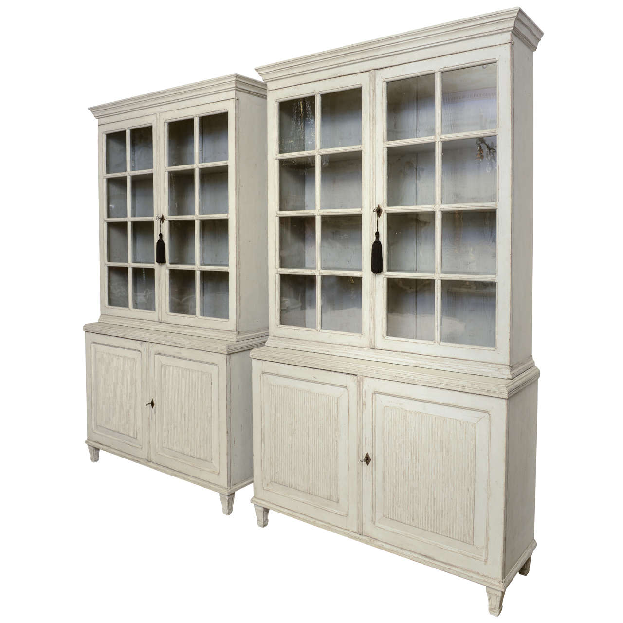 Pair Of Large Antique Swedish Gustavian Library Cabinets For Sale