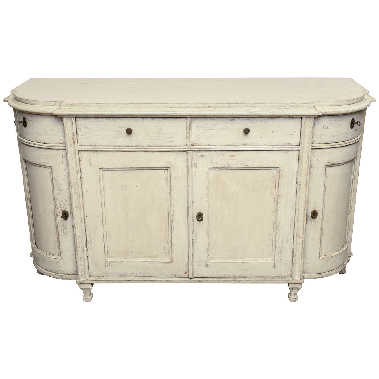 Sideboard Beige antique painted late gustavian sideboard with rounded
