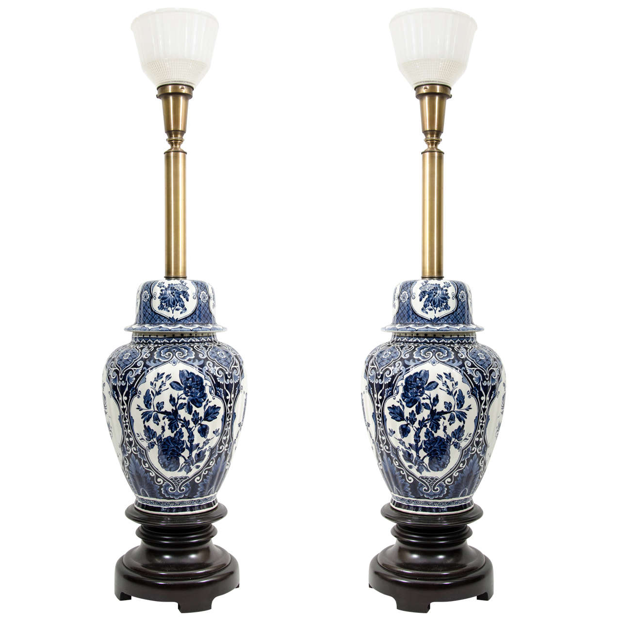 mid century pair of asian inspired ginger jar table lamps at 1stdibs. Black Bedroom Furniture Sets. Home Design Ideas