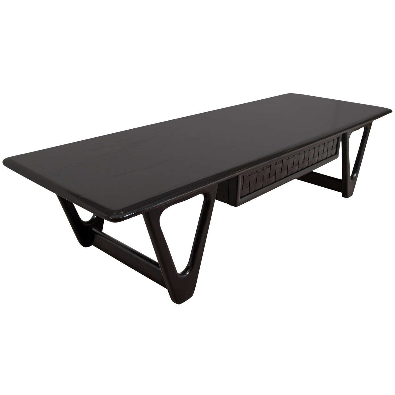 Mid Century Lane Copenhagen Drop Leaf Coffee Table: A Mid Century Black Lacquered Lane Coffee Or Cocktail