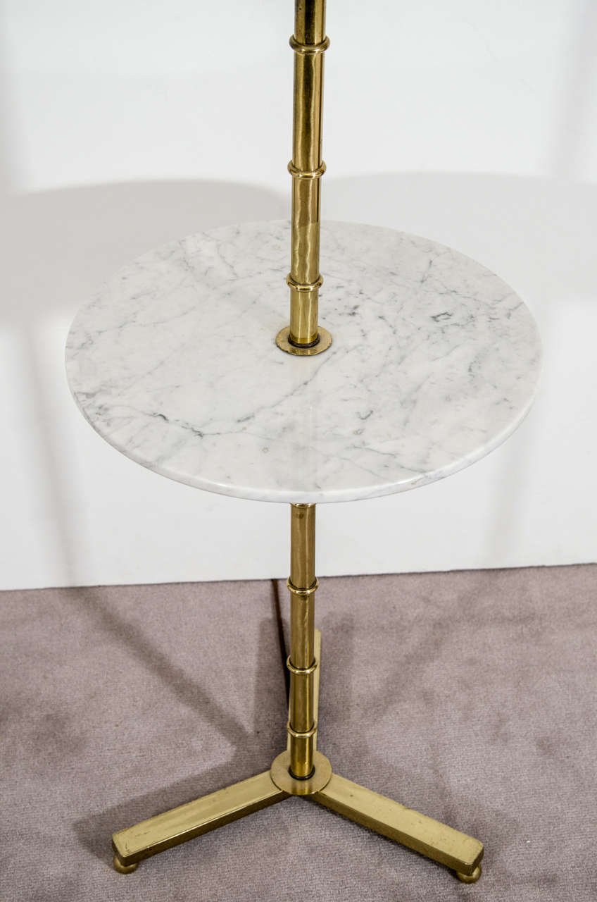 Mid Century Brass Faux Bamboo Lamp With Marble Table At
