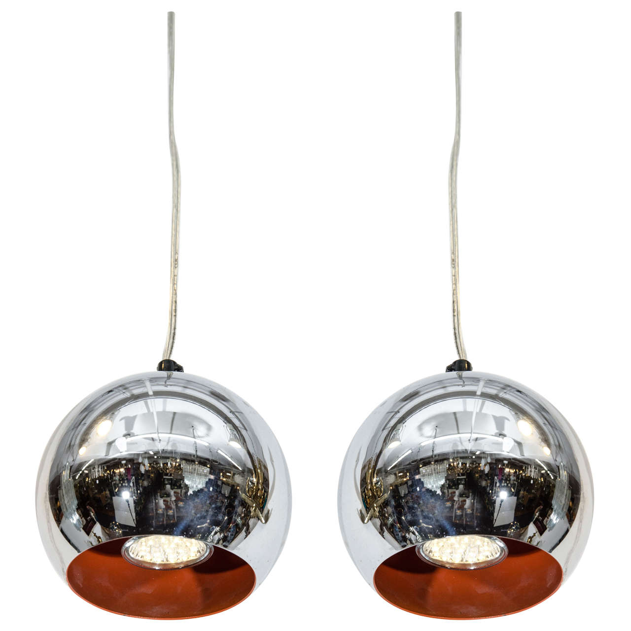 Mid Century Modern Chrome Ball Pendant Lights After Verner