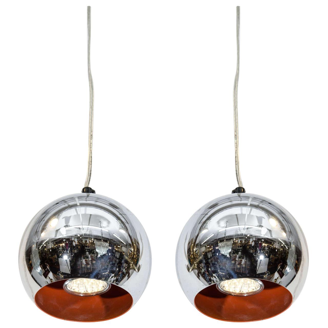 Mid Century Modern Chrome Ball Pendant Lights After Verner Panton For