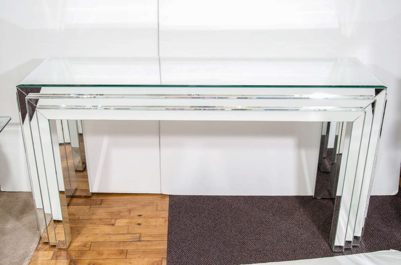 Glass console table with mirror - Midcentury Mirrored Glass Console Table With Mirrored Surface In As Is Condition 2