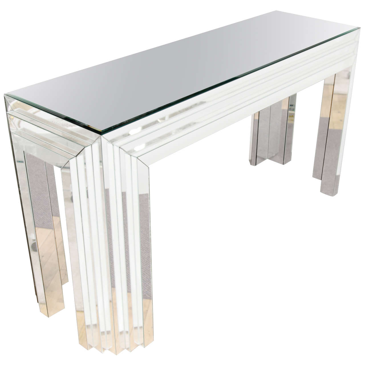 Glass console table with mirror - Midcentury Mirrored Glass Console Table With Mirrored Surface In