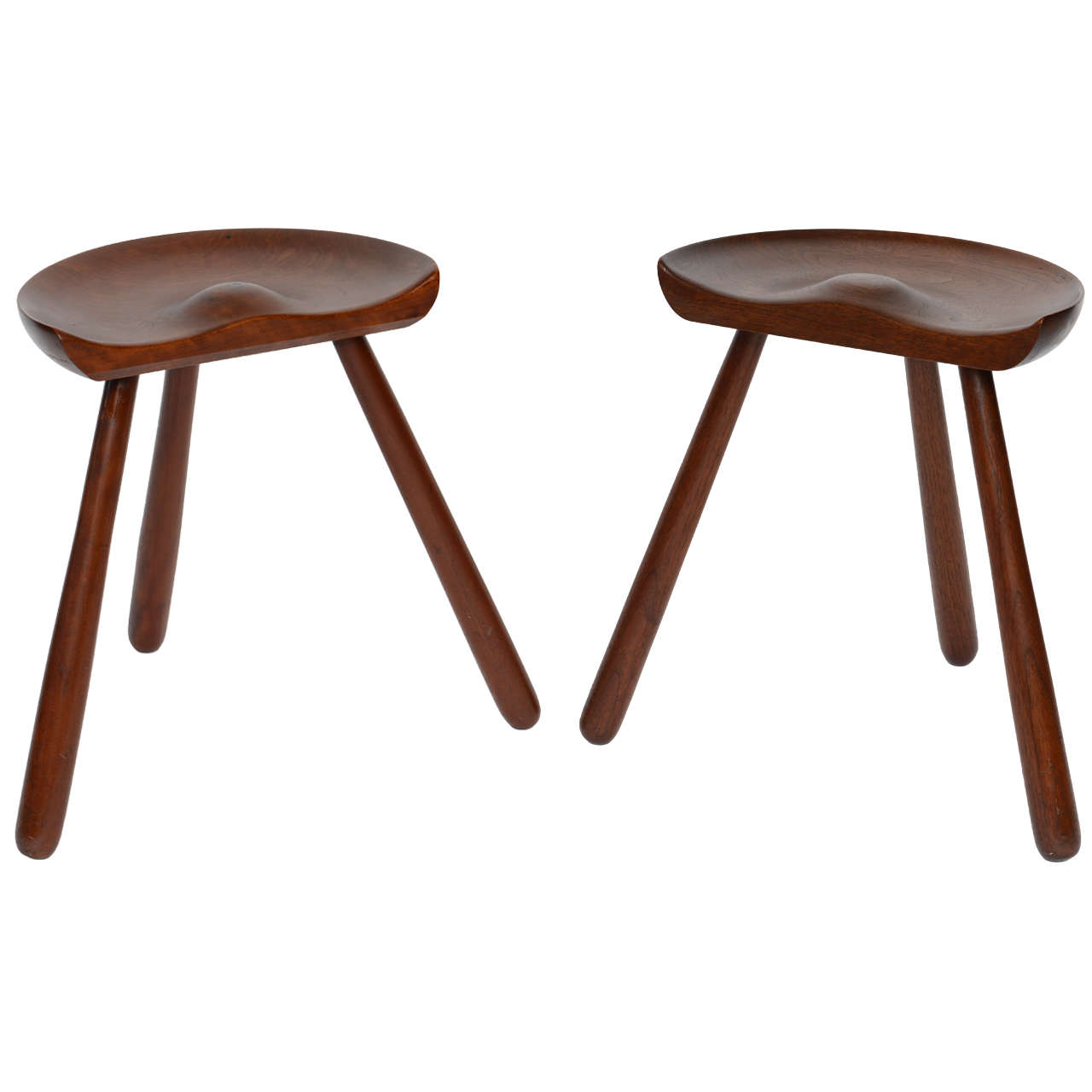 Pair Of Danish Three Legged Stools At 1stdibs