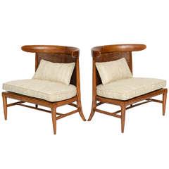 Pair of Silk Upholstered Erwin-Lambeth Slipper Chairs