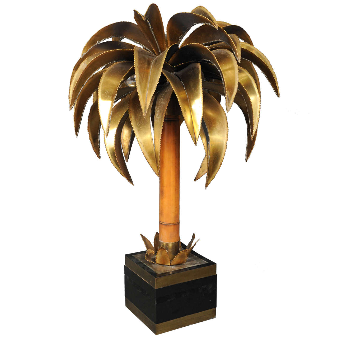 huge 6 feet tall copper 3-trunk Maison Jansen palm tree floorlamp