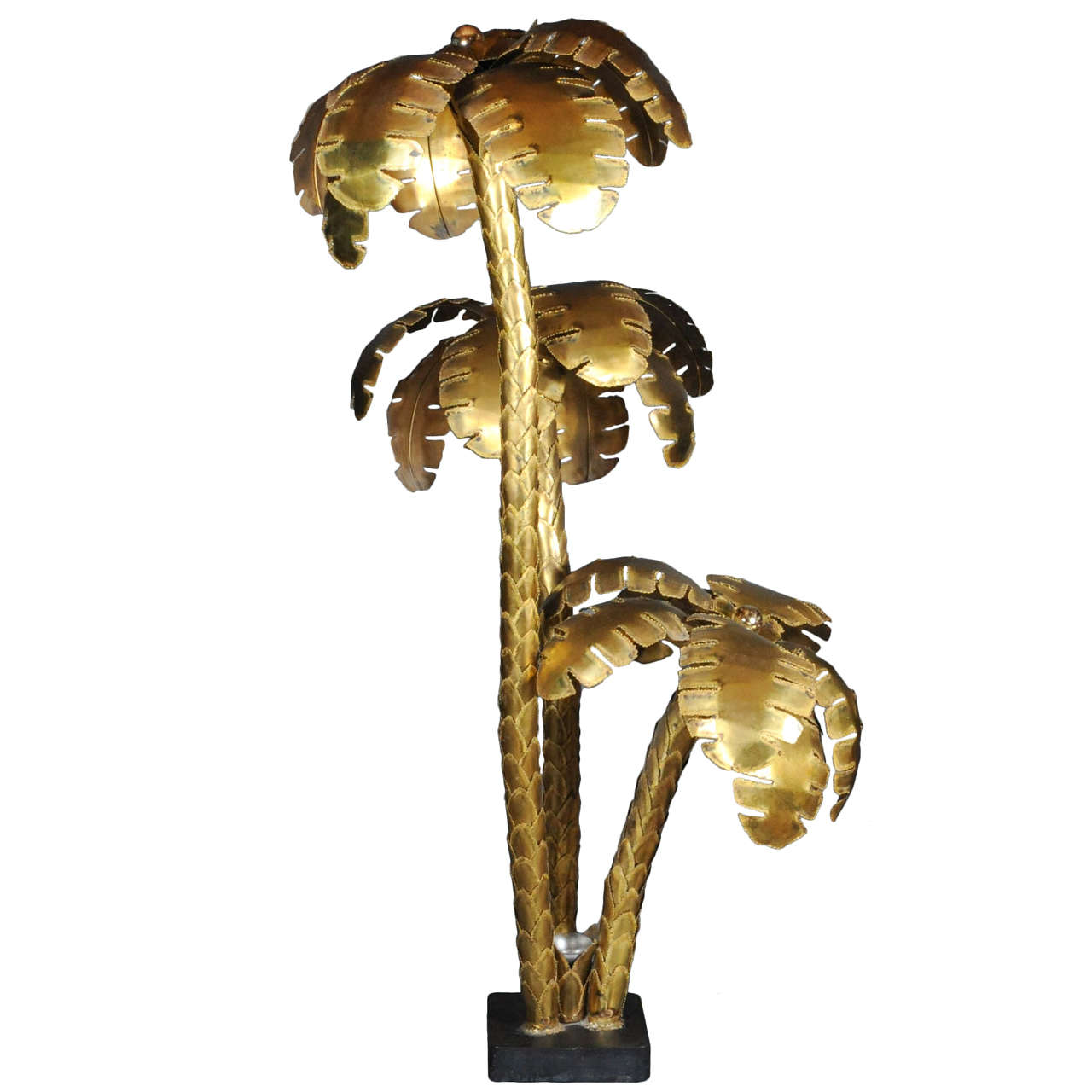 Huge 6 feet tall copper 3 trunk maison jansen palm tree for Tall tree floor lamp