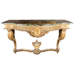 A wooden console table Napoleon III with marble top