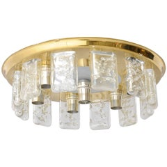 Iced Glass and Brass Flush Mount Light Designed by Doria.