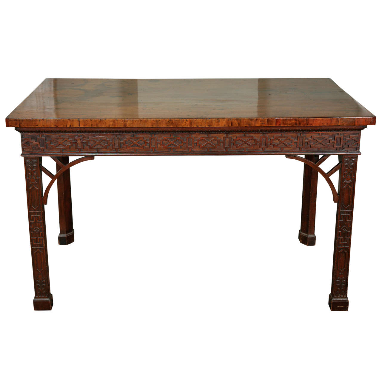 George III Carved Mahogany Side Table In The Chinese Chippendale Manner For  Sale