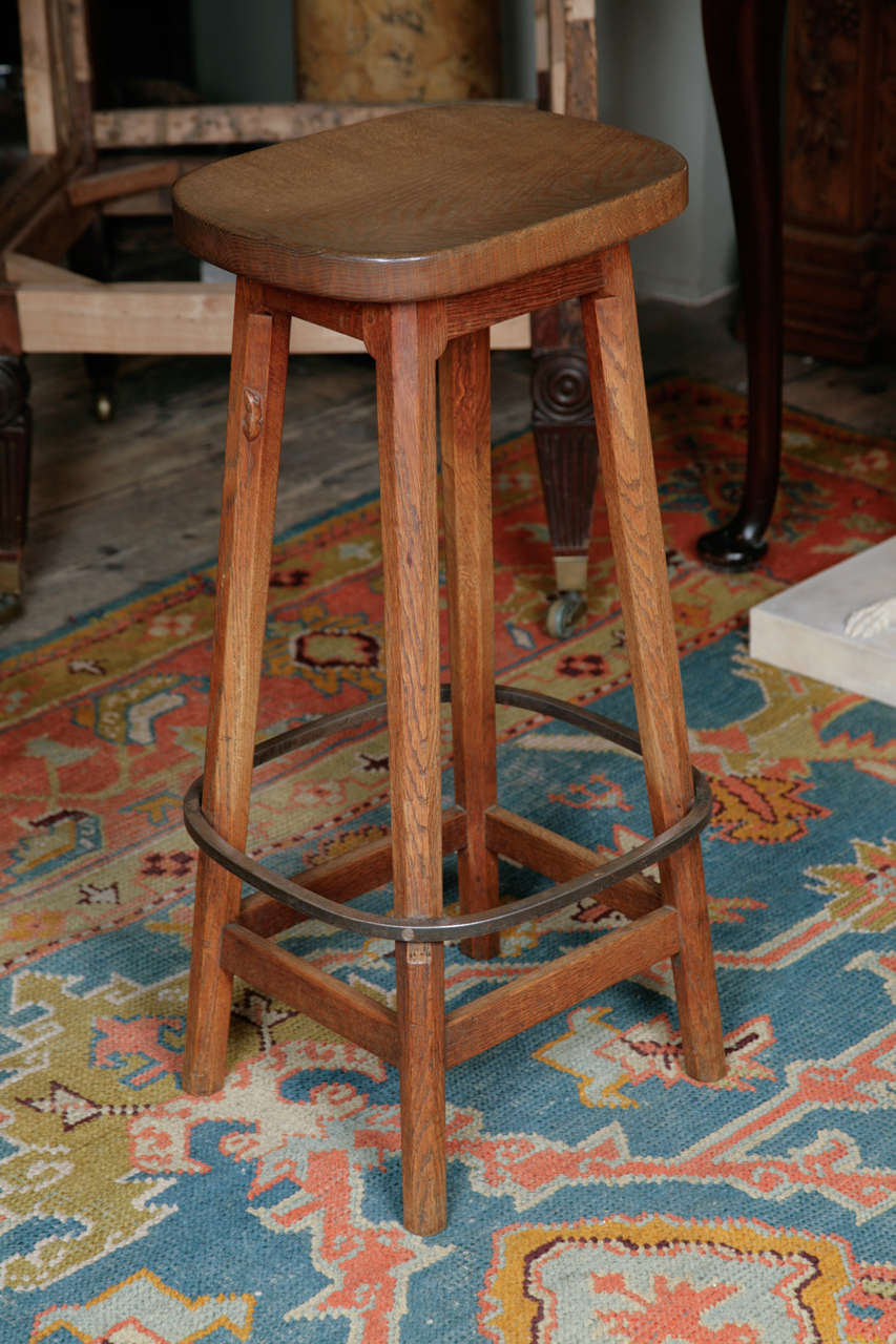 "Set of Four ""Mouseman"" Oak Bar Stools at 1stdibs"