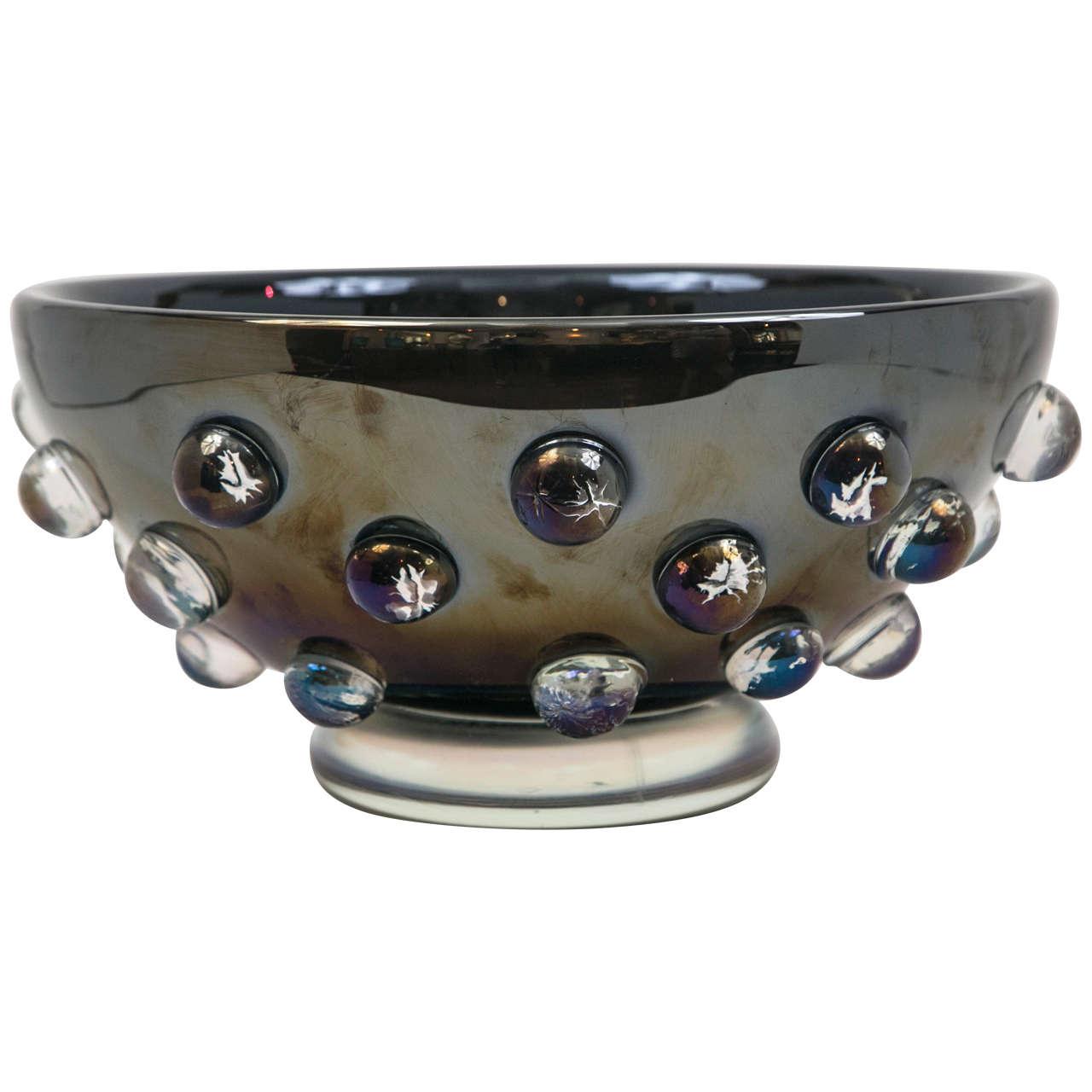 Large Iridescent Black Murano Vase 1