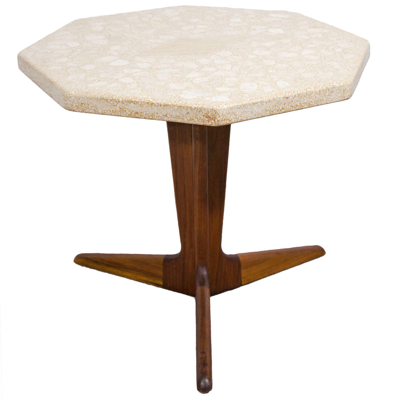 1960s terrazzo top octagonal table on rosewood tripod base for sale at 1stdibs. Black Bedroom Furniture Sets. Home Design Ideas
