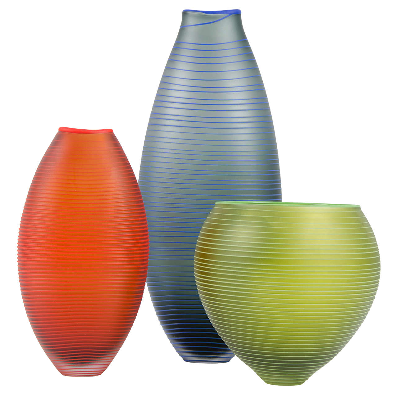 Modern Tonal Frequency Vase in Grey, a unique glass vase in grey & blue by Liam Reeves For Sale