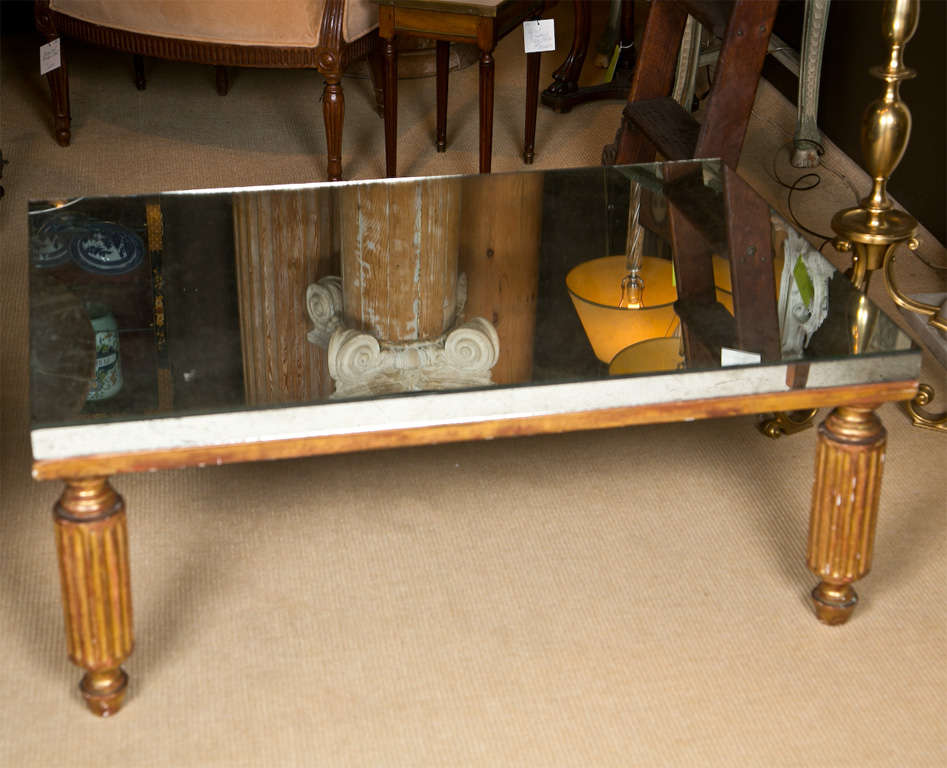 Mirrored Coffee Table With Gilt Finish At 1stdibs