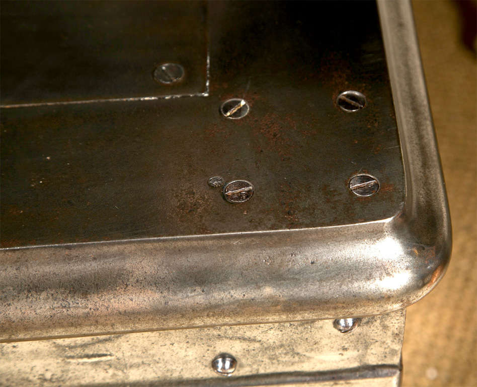 Rare Polished Iron Steel Safe Stand Table 5