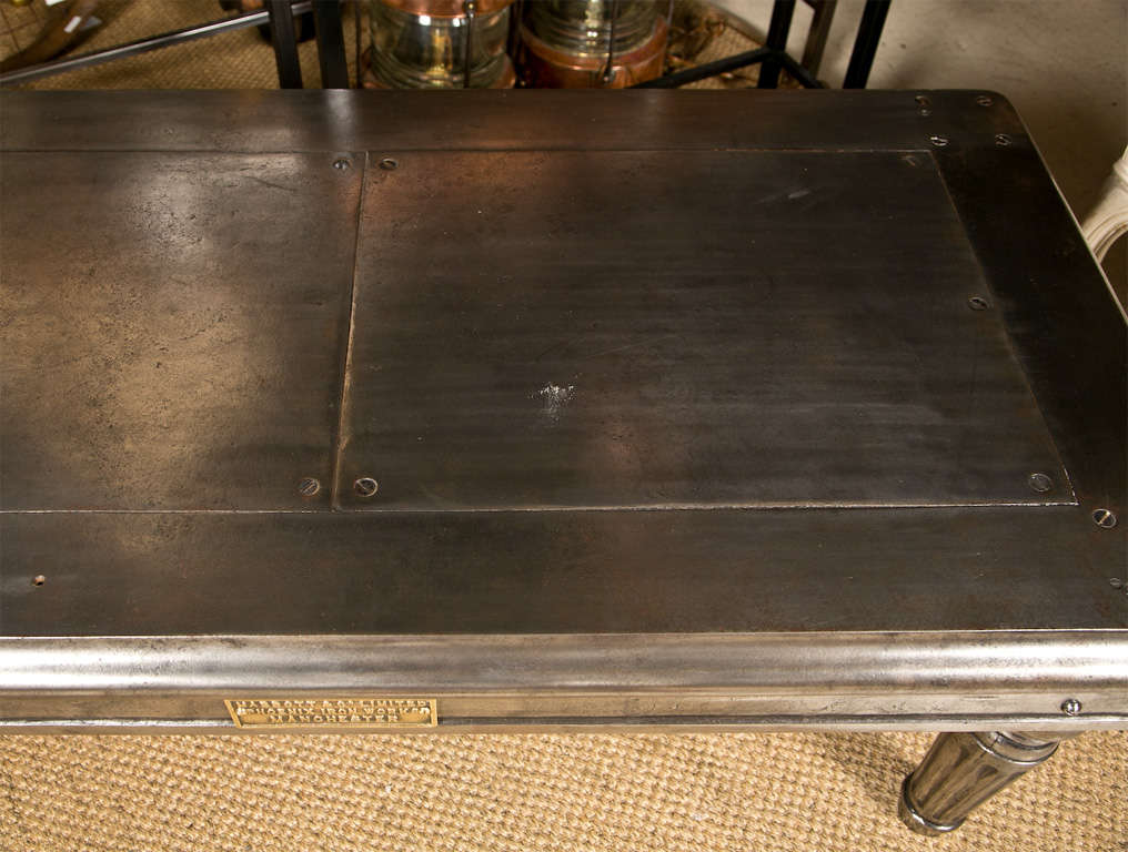 Rare Polished Iron Steel Safe Stand Table 6